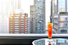 Free Cocktail Glasses On Table In Rooftop Bar Against City View, Romantic Dating Anniversary. Stock Photos - 118838533