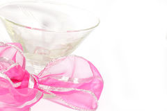 Cocktail glasses with pink ribbon Royalty Free Stock Image
