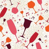 Cocktail glasses seamless pattern background Stock Photos