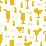 Cocktail glasses seamless vector pattern. Teal drinking glasses on a white background with Cheers lettering, pineapple, and vector illustration