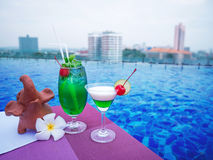 Cocktail glasses at swimmimg pool with city view. Cocktail glasses at swimimg pool with city view Royalty Free Stock Photos