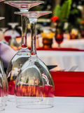 Cocktail glasses for two.  Evening dinner tables alfresco. Stock Photo