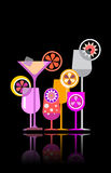 Cocktail glasses vector illustration Stock Images