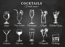 Cocktail glasses vector illustrations for drink menu. Hand drawn sketches set of alcoholic beverages beer, mojito etc. Cocktail glasses vector illustrations for royalty free illustration