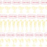 Cocktail glasses yellow in a row on a white background with Cheers lettering in red. Seamless vector pattern. Great for vector illustration