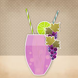 Cocktail grape background. Glass of drink with tubule. Retro ill. Ustration of grape bubble tea or milkshake Stock Photos