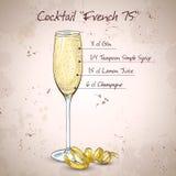 Cocktail het Frans 75 stock illustratie