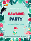 Cocktail with hibiscus flowers and palm leaves. Invitation, banner, card, poster, flyer Royalty Free Stock Photography