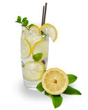 Cocktail with ice and lemon slice Royalty Free Stock Image