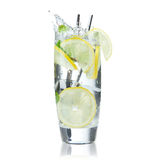 Cocktail with ice and lemon slice Royalty Free Stock Images