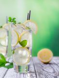 Cocktail with ice and lemon slice Royalty Free Stock Photo