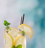 Cocktail with ice and lemon slice Royalty Free Stock Photos
