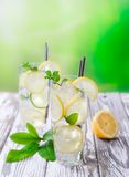 Cocktail with ice and lemon slices Stock Image