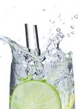 Cocktail with ice and lime slice Royalty Free Stock Photos