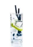 Cocktail with ice and lime slice isolated Royalty Free Stock Photo