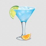 Cocktail with ice and lime slice on a transparent background. Ve Stock Image