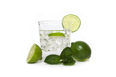 Cocktail with ice and lime Stock Photos