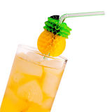 Cocktail with ice, pineapple Stock Photos