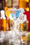 Cocktail with ice vapor on bar desk Royalty Free Stock Photography