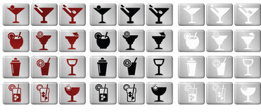 Cocktail Icons. Cocktail Icon Buttons on brushed steel background Stock Images