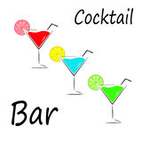 Cocktail, icon, glass. A glass of cocktail vector illustration on white background Stock Photography