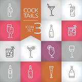Cocktails and drinks Vector contour icons with color modern background. Cocktail icon, set od vector illustration icon and symbols Royalty Free Stock Photos