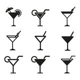 Cocktail icon set. Cocktail vector icons set. Black illustration isolated on white background for graphic and web design Stock Illustration