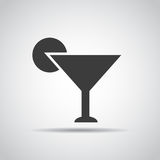 Cocktail icon with shadow on a gray background. Vector illustration Stock Photos
