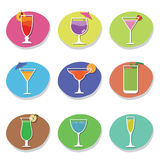 Cocktail icons Royalty Free Stock Photo
