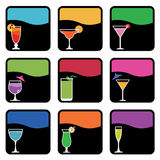 Cocktail icons Stock Photos