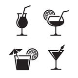 Cocktail icons. Cocktail black, isolated icons on a white background royalty free illustration