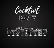 Cocktail icons.  Different kinds of glasses Stock Images