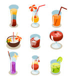 Cocktail icons isometric illustration Royalty Free Stock Photography