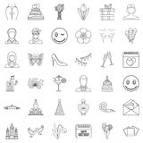 Cocktail icons set, outline style Stock Photo