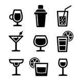 Cocktail Icons Set. On White Background. Vector Stock Photo