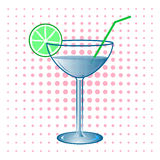 Cocktail illustration. Cocktail alcohol illustration  with lime Stock Images