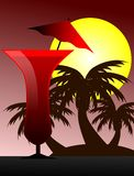 Cocktail illustration with palm trees and sun background Royalty Free Stock Photography