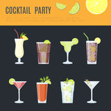 Cocktail infographic set. Vector illustration Royalty Free Stock Photography