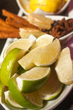 Cocktail ingredients. Fruits cinnamon canella lemon ginger Stock Photo