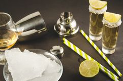 Cocktail ingredients and Tequila shots/cocktail ingredients and Tequila shots on a dark background. Selective focus. Bar tools beverage shaker straws lime royalty free stock images