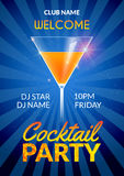 Cocktail Invitation design poster. Cocktail Party drink banner card or flyer template vector Stock Photos