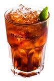 Cocktail isolato con ghiaccio e calce 2 Fotografia Stock Libera da Diritti