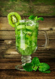 Cocktail with kiwi, mint and ice Stock Photography