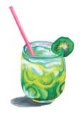 Cocktail kiwi watercolor Stock Photos