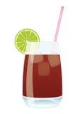 Cocktail Kuba Libre - Kolabaum und Rum mit Kalk Stock Abbildung
