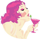 Cocktail Lady Pink Stock Photography