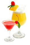 Cocktail with a lemon and a cherry. On a white background stock photos