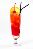 Cocktail with lemon and cherry. Red cocktail with ice, lemon and cherry Stock Photo