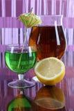 Cocktail and lemon eight stock photos
