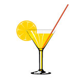 Cocktail with lemon isolated on wite Royalty Free Stock Photos